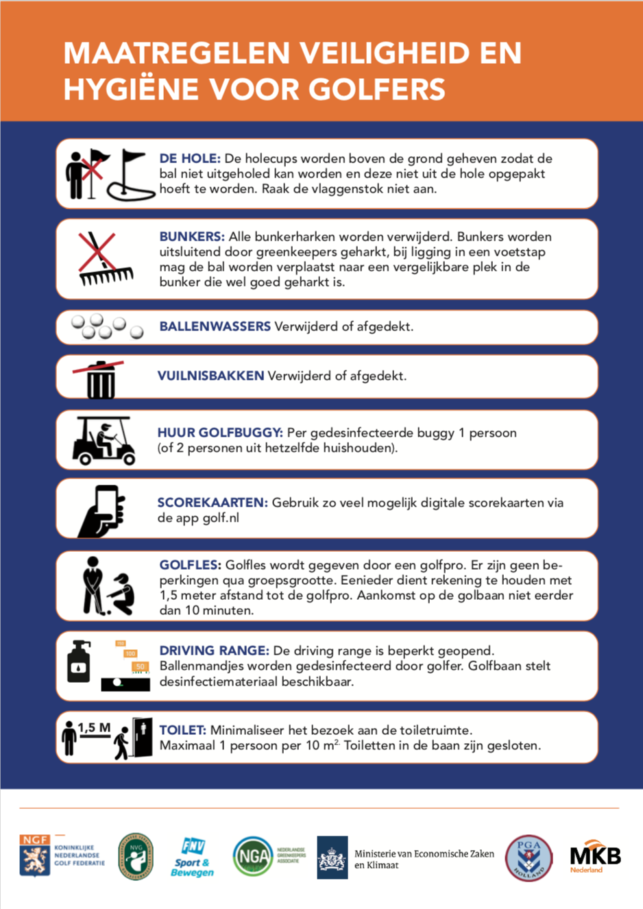 Maatregelen veiligheid en hygiëne voor golfers Corona NGF